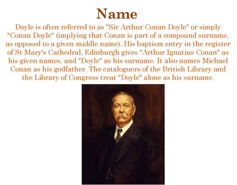 Arthur Conan Doyle Surname
